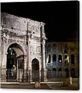 The Arch Of Constantine And The Colosseum At Night Canvas Print