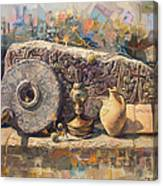 The Armenian Still-life With A Fragment Cross - Stone  Armenian Khachqar Canvas Print