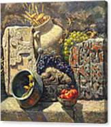 The Armenian Still Life With Cross  Stone Khachkar Canvas Print