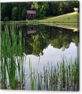 The Barn Across The Pond Canvas Print