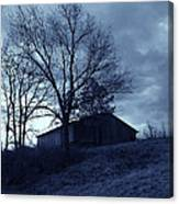 The Barn In Blue Canvas Print