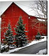 The Barn In Wintertime Canvas Print