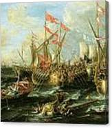 The Battle Of Actium 2 September 31 Bc Canvas Print