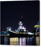 The Battleship New Jersey At Night Canvas Print