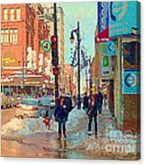 The Bay Department Store Downtown Montreal University And St Catherine Winter City Scene C Spandau  Canvas Print
