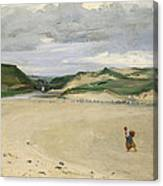 The Beach At Ambleteuse, 1869 Oil On Canvas Canvas Print