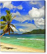 The Beach At Anse Gaulettes Canvas Print