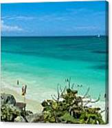The Beach At The Tulum Ruins Canvas Print