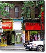 The Beadery Craft Shop  Queen Textiles Fabric Store Downtown Toronto City Scene Paintings Cspandau  Canvas Print