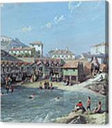 The Beginning Of Sea Swimming In The Old Port Of Biarritz  Canvas Print