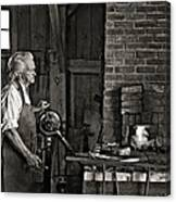The Blacksmith 2 Monochrome Canvas Print