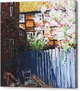 The Blue Paling - Backyard Of The Arthouse Buetzow Canvas Print