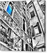 The Blue Window In Venice - Italy Canvas Print