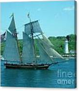 American Tall Ship Sails Past Mcnabs Island Canvas Print