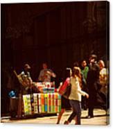 The Bookseller - New York City Street Scene - Street Vendor Canvas Print