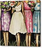 The Bride And Her Bridesmaids Canvas Print