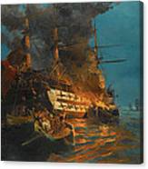 The Burning Of A Turkish Frigate Canvas Print