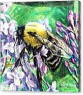 The Busy Bee And The Lilac Tree Canvas Print