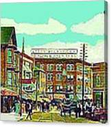 The Capitol Theatre And Main St. In Pawtucket Ri In 1905 Canvas Print