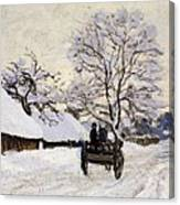 The Carriage- The Road To Honfleur Under Snow Canvas Print