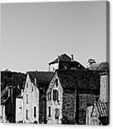 The Castle Above The Village Panorama In Black Nd White Canvas Print