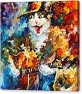 The Cat And The Guitar Canvas Print