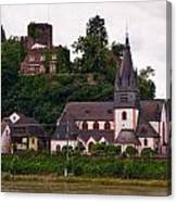 The Church And Heimburg In Niederheimsbach Am Rhein Canvas Print