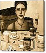 The Coffee Addict In Sepia Canvas Print
