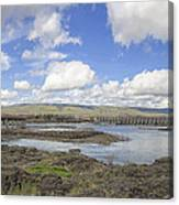 The Dalles Dam And Bridge Across Columbia River Canvas Print