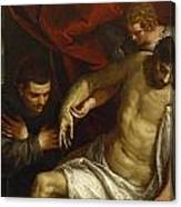 The Dead Christ Supported By An Angel And Adored By A Franciscan Canvas Print