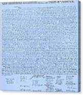 The Declaration Of Independence In Cyan Canvas Print