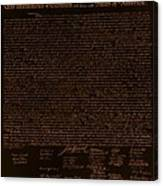 The Declaration Of Independence In Negative Orange Canvas Print