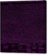 The Declaration Of Independence In Negative Purple Canvas Print