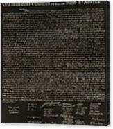 The Declaration Of Independence In Negative Sepia Canvas Print
