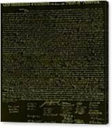 The Declaration Of Independence In Negative Yellow Canvas Print