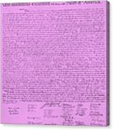 The Declaration Of Independence In Pink Canvas Print