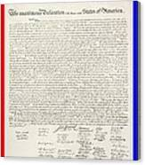 The Declaration Of Independence In Red White And Blue Canvas Print
