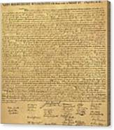 The Declaration Of Independence In Sepia Canvas Print