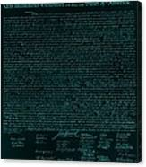 The Declaration Of Independence In Turquoise Canvas Print