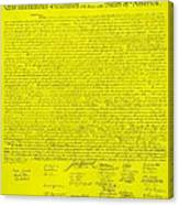 The Declaration Of Independence In Yellow Canvas Print