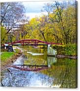 The Delaware Canal Near New Hope Pa In Autumn Canvas Print