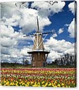 The Dezwaan Dutch Windmill Among The Tulips On Windmill Island In Holland Michigan Canvas Print