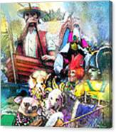 The Dogs Parade In New Orleans Canvas Print