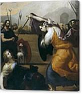 The Duel Of Isabella De Carazzi And Diambra De Pottinella Canvas Print