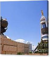 The Earthquake Memorial Statue And The Arch Of Neutrality In Ashgabat Turkmenistan Canvas Print