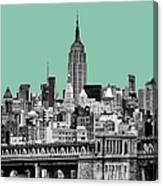 The Empire State Building Pantone Jade Canvas Print