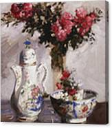 The Famille Rose Coffee Pot Canvas Print