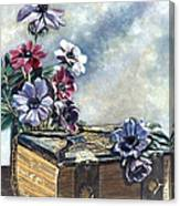 The Family Bible Graced By Anemones Canvas Print