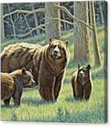 The Family - Black Bears Canvas Print