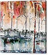 The Ferry Arrives At Galata Port - Istanbul Canvas Print